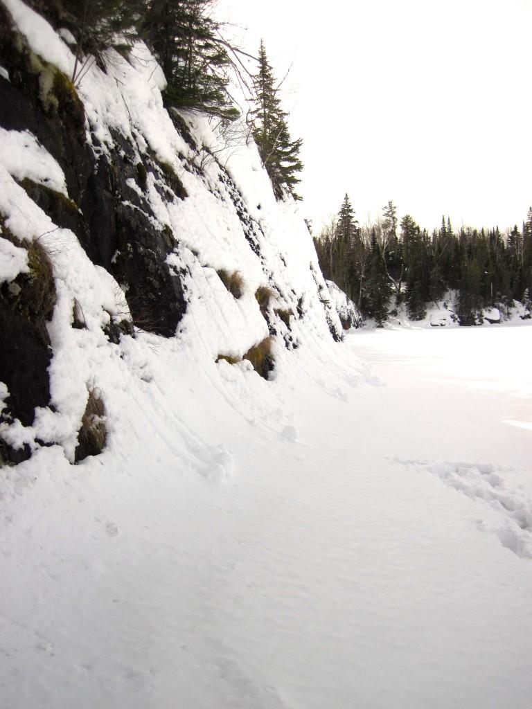 Snow cliffs on Tuscarora Lake BWCAW
