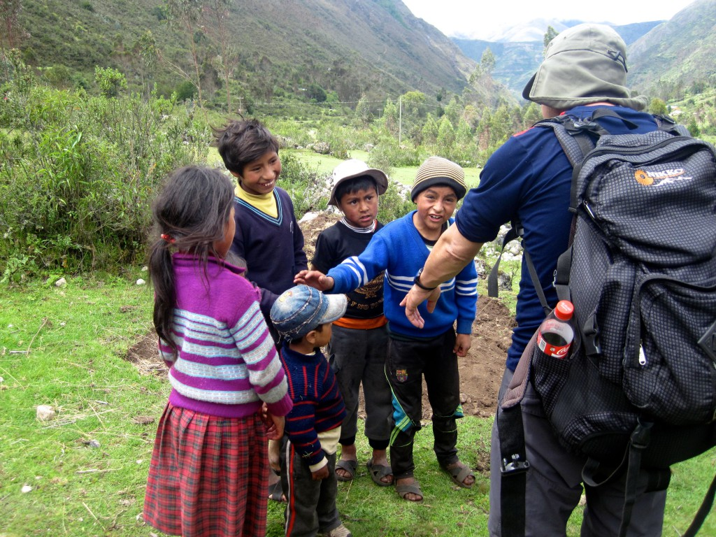 Children on the Lares Trek in Cusco, Peru region