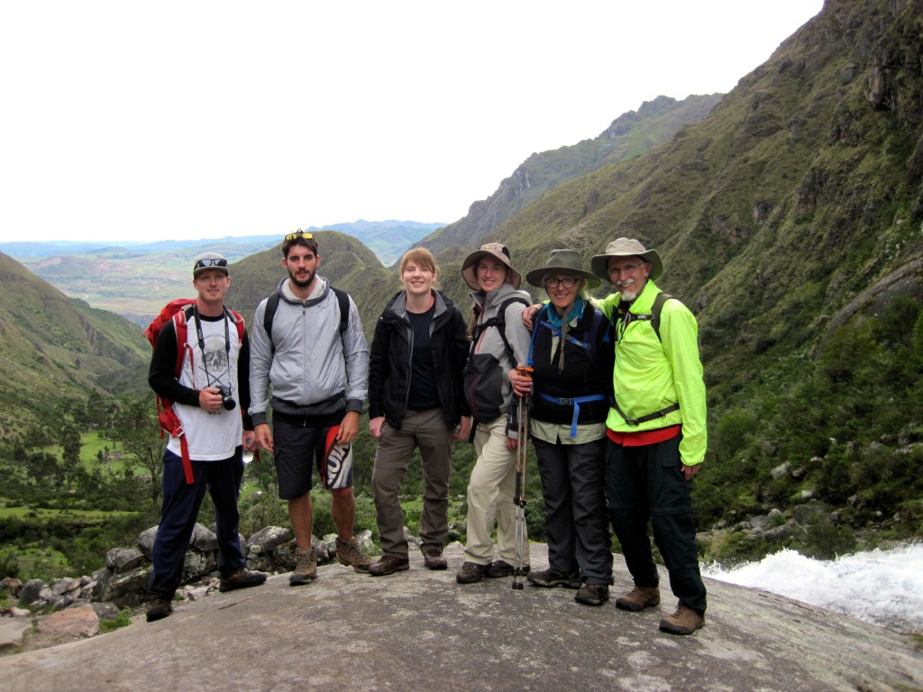 Backpackers on the Lares Trek looking towards the Sacred Valley