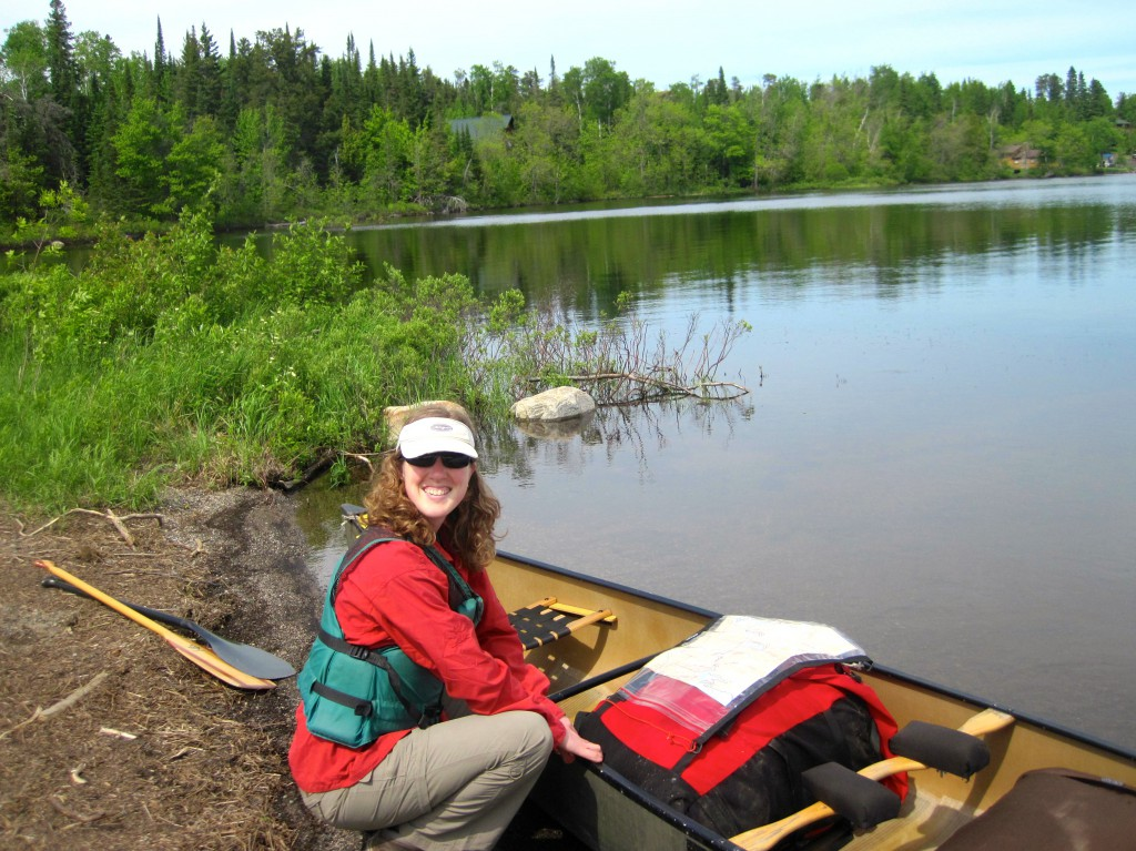 Kati near the Cross River Bridge on Gunflint Lake