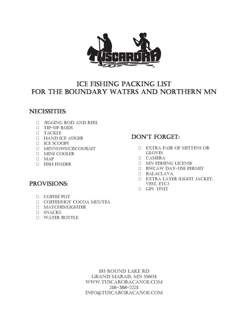 Ice Fishing PACKING LIST